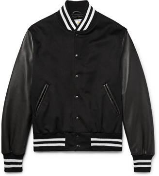 Golden Bear Leather and Wool Bomber Jacket $640 thestylecure.com