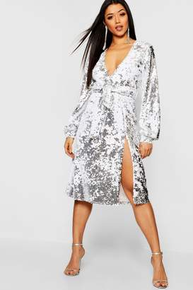 boohoo Sequin Plunge Belted Midi Dress