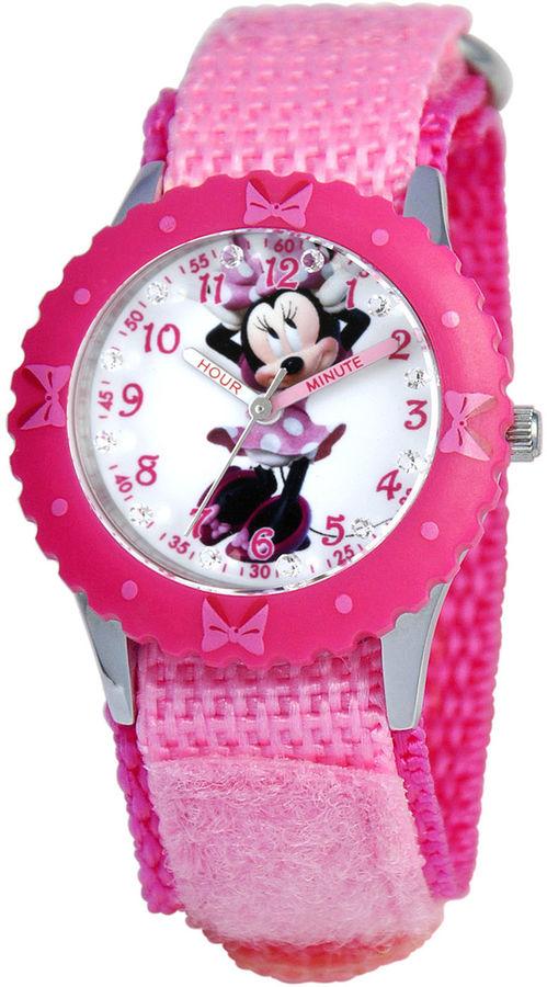 DISNEY Disney Minnie Mouse Kids Time Teacher Crystal-Accent Pink Nylon Strap Watch