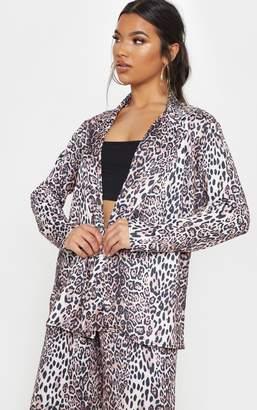 PrettyLittleThing Tan Leopard Boyfriend Blazer