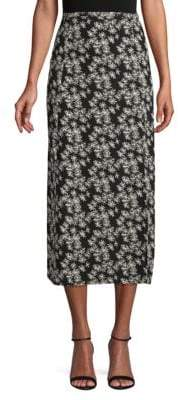 Rixo Floral-Print Silk Midi Skirt