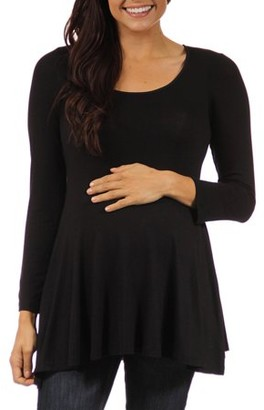 24/7 Comfort Apparel Women's Long-sleeve Scoop Neck Maternity Plus Tunic Top