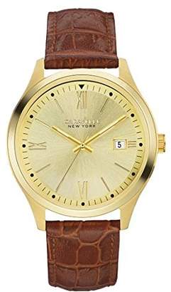 Caravelle New York Men's Stainless Steel Quartz Watch with Leather Strap