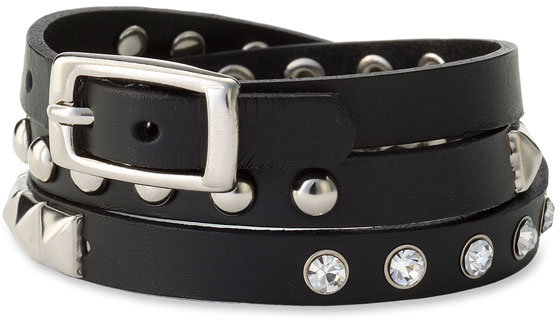 Cara Accessories Studded Leather Wrap Bracelet