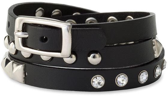 Cara Accessories Studded Leather Wrap Bracelet