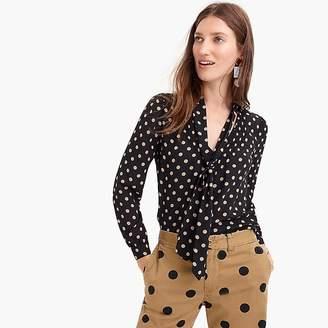 J.Crew Petite drapey tie-neck top in polka dot
