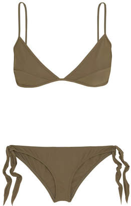 On The Island By Marios Schwab - Triangle Bikini - Army green