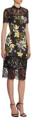 Erdem Keni Lace Floral Sheath Dress