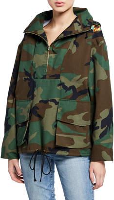 Camo-Print Half-Zip Hooded Parka Jacket