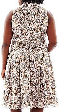 JCPenney 9 & Co.® Tie-Waist Print Shirtdress - Plus