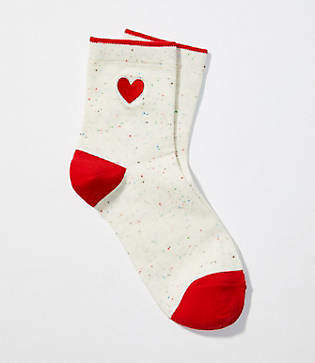 LOFT Embroidered Heart Ankle Socks