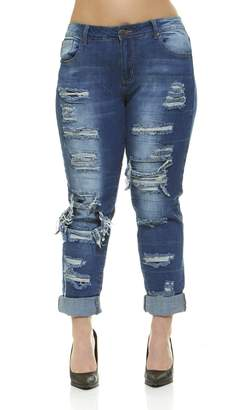 V.I.P.JEANS Distressed Skinny Ripped Jeans for Women