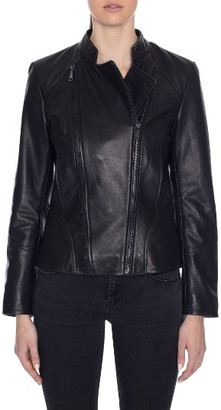 Women's Tahari Carry Dual Zip Front Leather Jacket $450 thestylecure.com