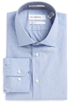 Men's Calibrate Trim Fit Stripe Dress Shirt $89.50 thestylecure.com