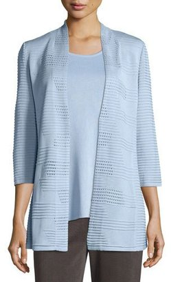 Misook Textured 3/4-Sleeve Hook-Front Knit Jacket $408 thestylecure.com