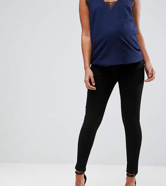 Asos Design Maternity 'sculpt Me' Premium Jeans In Clean Black With Under The Bump Waistband