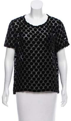 Creatures of Comfort Polka-Dot Accented Short Sleeve Top