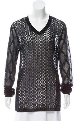 John Galliano Open Knit V-Neck Sweater