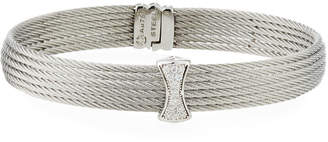 Alor Classique Multi-Row Bangle w/ White Diamond Pave, Silvertone