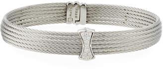 Alor Classique Multi-Row Bangle w/ White Diamond Pave, Silvertone