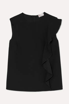 RED Valentino Ruffle-trimmed Crepe Blouse - Black