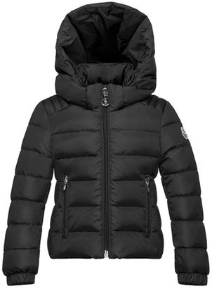 Moncler Oiron Hooded Fitted Puffer Jacket, Black, Size 8-14 $600 thestylecure.com
