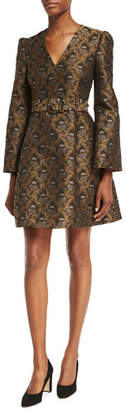 Co Floral Brocade Bell-Sleeve Fit & Flare Belted Minidress