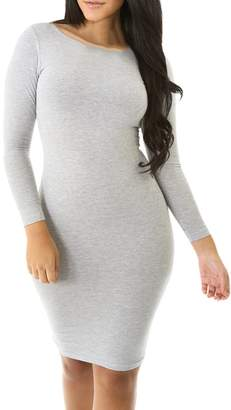 Foxexy Womens Stretchy Bodycon Long Sleeve Solid Color Stitching Sexy Ladies Club Dress Grey L
