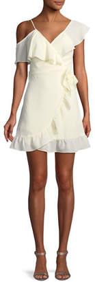 Donna Mizani Selena V-Neck Faux-Wrap Ruffled Pebbled Georgette Mini Dress