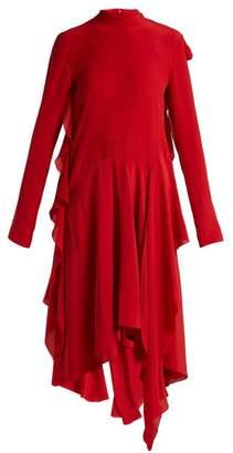 Petar Petrov Dana Asymmetric Ruffled Silk Dress - Womens - Red