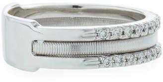 Marco Bicego Goa 18k White Gold Three-Row Double Pave Diamond Ring
