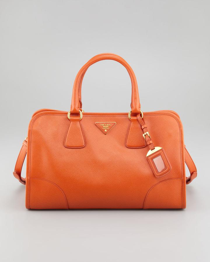 Prada Saffiano Lux Double-Handle Tote Bag, Orange