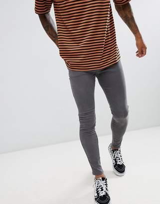 Bershka Super Skinny Jeans In Gray