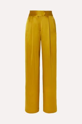 Mason by Michelle Mason Gathered Silk-charmeuse Wide-leg Pants - Mustard