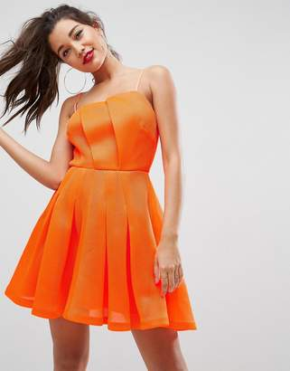 Asos DESIGN Neon Bonded Mesh Fan Front Mini Dress