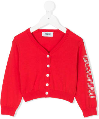 Moschino Kids metallic logo cardigan