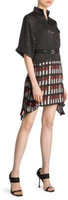 Prada Belted Lipstick-Print Mini Dress