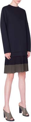 Akris Punto Pleated-Hem Sweatshirt Dress