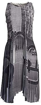 Akris Women's Magnet Print Plissé Dress