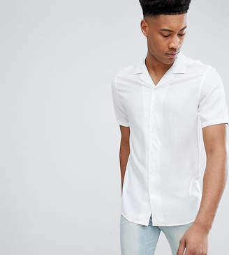 Asos Design Tall Regular Fit Viscose Shirt With Revere Collar In White