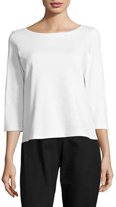 Eileen Fisher Ballet Neck Three-Quarter Sleeve Top