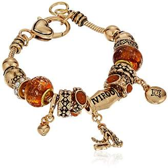 Virgo Zodiac Sign Gold Tone Charm Bracelet