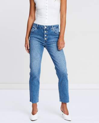 Miss Selfridge Straight Leg Button Fly Jeans