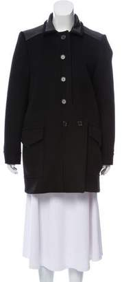 Tom Ford Leather-Trimmed Wool Coat