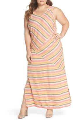 Caslon Stripe A-Line Maxi Dress (Plus Size)