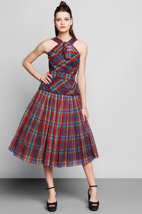 Urban Outfitters Vintage '60s Plaid Two-Piece Party Dress