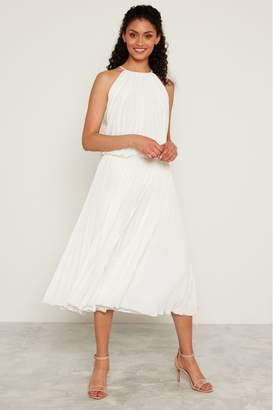 F&F Womens White Wow Pleated Dress - White