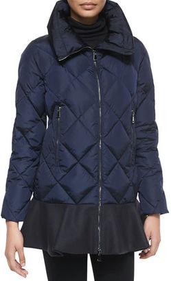 Moncler Vouglans Flounce-Hem Puffer Coat, Black/Navy $1,300 thestylecure.com
