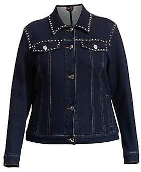 Marina Rinaldi Marina Rinaldi, Plus Size Women's Marina Sport Canguro Studded Denim Jacket