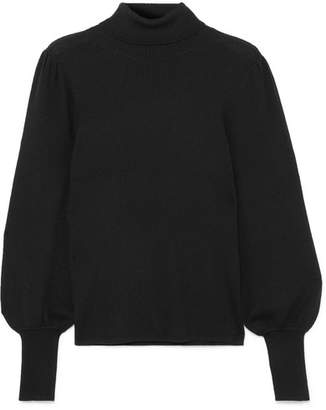 J.Crew Isa Ribbed Merino Wool Turtleneck Sweater - Black